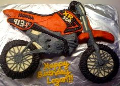Dirt bike cake I made for my first racer :)