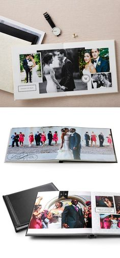 Photo books with layflat pages. These by Shutterfly come in a variety of premium cover options, like genuine leather and silk. Wedding Album Cover, Wedding Album Layout, Wedding Album Design, Wedding Photo Books, Wedding Photo Albums, Wedding Book, Wedding Gifts, Dream Wedding, Album Polaroid