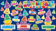 Teachers Friend - Monsters Birthday Mini Bulletin Board Set on sale now! Find all of your classroom supplies at huge discounts at DK Classsroom Outlet. Bulletin Board Sets, classroom decorations, and more. Monster Bulletin Boards, Birthday Bulletin Boards, Preschool Bulletin Boards, Birthday Board, Space Theme Classroom, Classroom Displays, Classroom Ideas, Monster Room, Birthday Display
