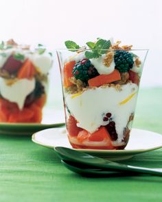 Yogurt with Fruit and Nuts | Martha Stewart Living - A sweet and savory blend of plain yogurt, honey, and chopped fresh fruit is the perfect way to start the day or indulge midafternoon hunger pangs.