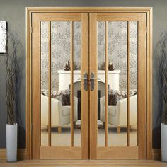 Worcester Oak Door Pair with Clear Safety Glass, Pairmaker