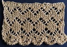 Knitted lace edging with zig-zag and diamond pattern.  I'm using this pattern to knit an applied border on a shawl.  Very pretty.