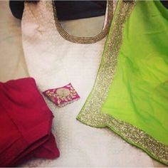 Lime green dupatta, white with pink cuffs and red bottoms. Punjabi Fashion, India Fashion, Suit Fashion, Asian Fashion, Indian Suits, Indian Attire, Indian Wear, Indian Dresses, Punjabi Dress
