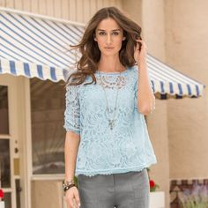 """PURE POETRY BLOUSE--Arabesques swirl and flourish while thoughtful details of eyelet lace and ruched sleeves complete this graceful lace blouse. Cotton/nylon. Hand wash. Imported. Exclusive. Sizes XS (2), S (4 to 6), M (8 to 10), L (12 to 14), XL (16). Approx. 22-1/2""""L."""