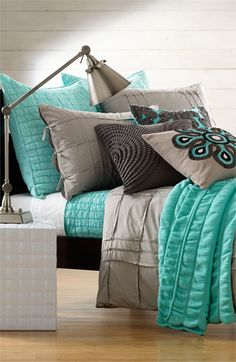 Love the colors for the bedroom grey, teal and white.
