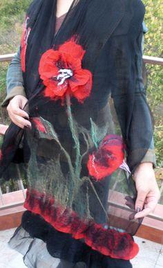 merino wool scarf suitable for every season, scarf from wool and silk, felt, Nuno felting, handmade art gift