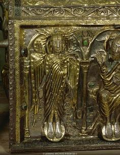 ROMANESQUE RELIQUARY 12TH CENTURY  Shrine of Saint Maurice,a reliquary of the saint kept on the site of his martyrdom.A Christian officer in the Theban legion, he and his men were executed when they refused to sacrifice to Roman gods.A seraph with three pairs of wings. Chased silver,precious stones.  Abbey St. Maurice, St. Maurice, Switzerland