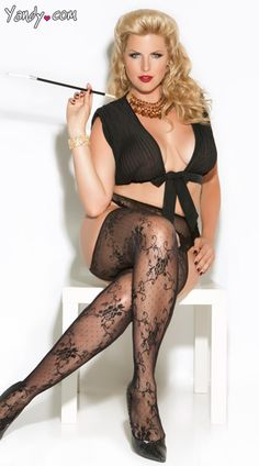 25265ec02 Plus Size Lace Suspender Pantyhose -  8.95 - Black only - Elegant Moments  Fishnet Stockings