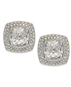 Eliot Danori Earrings, Rhodium-Plated Cubic Zirconia Square Stud Earrings (6 ct. t.w.) - Fashion Jewelry - Jewelry & Watches - Macy's