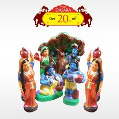 Buy authentic #KrishnaLeelaSet  and get 20% off on all #DasaraDolls and make your #DasaraSet more unique.  #BringHomeFestival