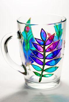 Coffee Cup Wedding #Mug, #Leaves Mug, Teacher Coffee Mug, Hand Painted Glass Mom Mug