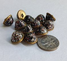 Antique Waistcoat or Victorian Jewel Domed Glitter Buttons ~ Set of 12