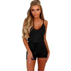 Summer Spaghetti Strap Playsuit Women Solid Sleeveless V Neck Casual Shorts Jumpsuit Elastic Waist One Piece Playsuits 8 Colors #Affiliate