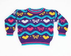 Vintage Toddler Girl Sweater 1980s Sweater by ShopTwitchVintage, $12.00 #vintage #etsy #toddler #girl