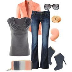 Peach and Gray - Polyvore