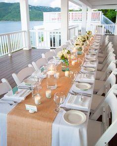 Premium Burlap Table Runner - 12 wide by 7 feet long Natural Burlap - Holiday - Wedding or Party -  burlap runners. $8.75, via Etsy.