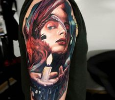 Woman with Candle tattoo by Dave Paulo