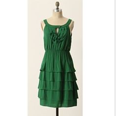 Maeve by Anthropologie green ruffle dress Maeve by Anthropologie green ruffle dress size 2petite Anthropologie Dresses