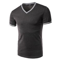 374069830aaa Men s Polo Shirts Slim Fit Short Sleeve V-Neck Stripe Sports Casual T-Shirts