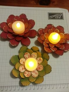paper flowers with battery operated tea lights