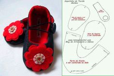 moldes-y-modelos-para-hacer-zapatillas-de-tela-para-bebes-2 Baby Doll Shoes, Baby Dolls, Sewing For Kids, Baby Sewing, Cute Crafts, Felt Crafts, Doll Shoe Patterns, Diy Diapers, Felt Shoes