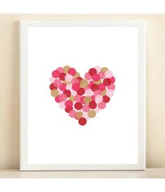 Pink Red and Gold 'Confetti Heart' by AmandaCatherineDes