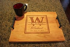 "NEW Custom, Personalized Engraved Kitchen Wood serving tray  Monogram, Names and Date - 16"" x 12"""