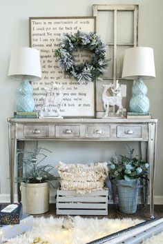 Little bit of blue incorporated  into farmhouse decor.
