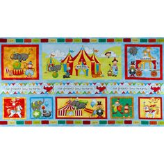 Circus Circus Panel Blue/Multi from @fabricdotcom  Designed by Julie Dobson Miner for Studio E, this cotton print panel measures 24'' x 44''. It is perfect for quilting and craft projects. Colors include blue, orange, yellow, lime and brown.