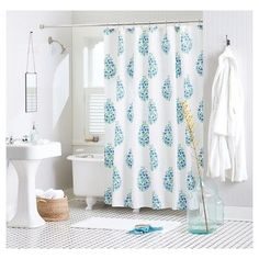 Shower Curtain Blue Green Paisley - Threshold, Batik Green
