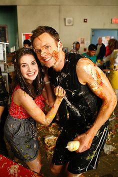 Joel McHale as Jeff Winger & Alison Brieas Annie Edison on the set of Community.