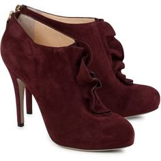Valentino Ruffle Suede Ankle Boots