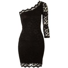 John Zack One shoulder lace dress ($32) ❤ liked on Polyvore featuring dresses, vestidos, short dresses, black dresses, evening and party dresses, women, lace evening dresses, special occasion dresses, evening dresses and holiday cocktail dresses