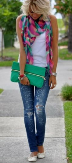 see more Colorful Beautiful Scarf with Torn Jeans,T-Shirt, Green Clutch Bag and Babets