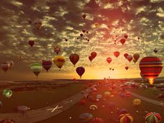 airballons and the sunset beautiful