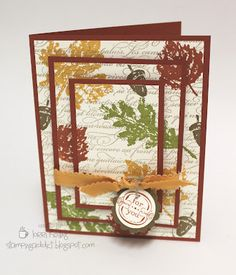 "Triple Time Stamping :: Confessions of a Stamping Addict - Recipe  Stamp Sets: Falling Leaves, Elements of Style, En Francais Paper: Cajun Craze, Very Vanilla, Soft Suede Ink: Cajun Craze, Soft Suede, More Mustard, Old Olive, Crumb Cake (for En Francais stamp) Accessories: 1 1/4"" Scallop Circle Punch, 1"" Circle Punch, More Mustard Scallop Dots Ribbon, Linen Thread, Dimensionals"