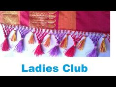 How to make Saree Kuchu / Tassels using Silk & Golden Thread - Beaded Design 1 - YouTube