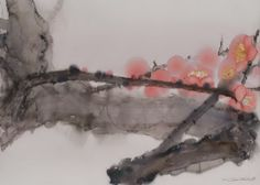 Lin Shun-Shiung(林順雄 Taiwanese, b.1948 )  觀梅  Watercolor
