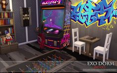 "from the lot ""EXO Dorm (No CC)"" Arcade/Gamer Room"