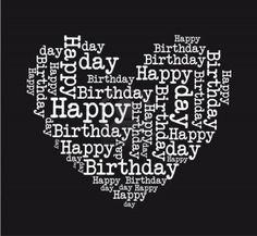 black and white happy birthday heart isolated vector illustration Stock Photo - 12136541