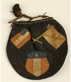Tobacco pouch or sweet bag; probably made for a Kentucky soldier serving with the Confederate Army during the Civil War.