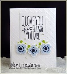 Smiling while Stamping: I Love You handmade love card using My Favorite Things Build-able Blooms and I Love You More stamp sets