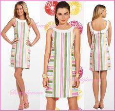 $178 Lilly Pulitzer 51935 Darcy Multi Spicy Stripe Flourescent Shift Dress  #LillyPulitzer #Shift