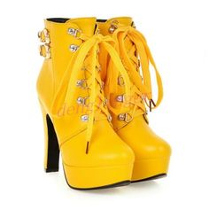 Womens-Block-High-Heels-Punk-Ankle-Boots-Platform-Ladies-Shoes-Lace-up-Plus-SZ