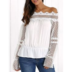 Wholesale Off The Shoulder Lace Splicing Hollow Blouse Only $11.20 Drop Shipping | TrendsGal.com