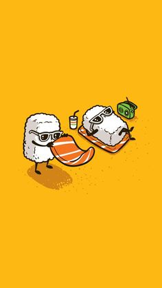 "Tee Shirt Illustration - 2012 - Batch) by Chow Hon Lam, via Behance ------- It's titled ""Summer Sushi"".How adorable! Its kind of the illustration style I want to go into for my project. Graphisches Design, Vector Design, Humor Grafico, Cute Illustration, Cute Cartoon, Cute Drawings, Cute Wallpapers, Cute Art, Illustrators"