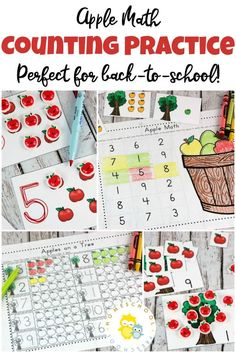 Printable Preschool Counting Practice Apple Math Activities - Help your preschoolers practice counting and identifying numbers from with these apple math ac - Preschool Apple Theme, Apple Activities, Preschool At Home, Free Preschool, Preschool Printables, Preschool Lessons, Preschool Learning, Literacy Activities, Preschool Activities