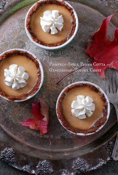 Pumpkin-Spice Panna Cotta in a Gingersnap-Toffee Crust
