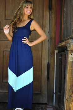 HOPE'S: Chevron Maxi Dress: Navy/Mint