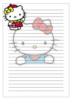 PAPEL DE CARTA: Hello Kitty Sanrio Hello Kitty, Hello Kitty My Melody, Printable Lined Paper, Free Printable Stationery, Printable Scrapbook Paper, Cute Stationary, Stationary Store, Hello Kitty Wallpaper, Letter Set